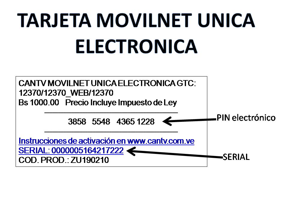 Tarjeta Electronica Movilnet