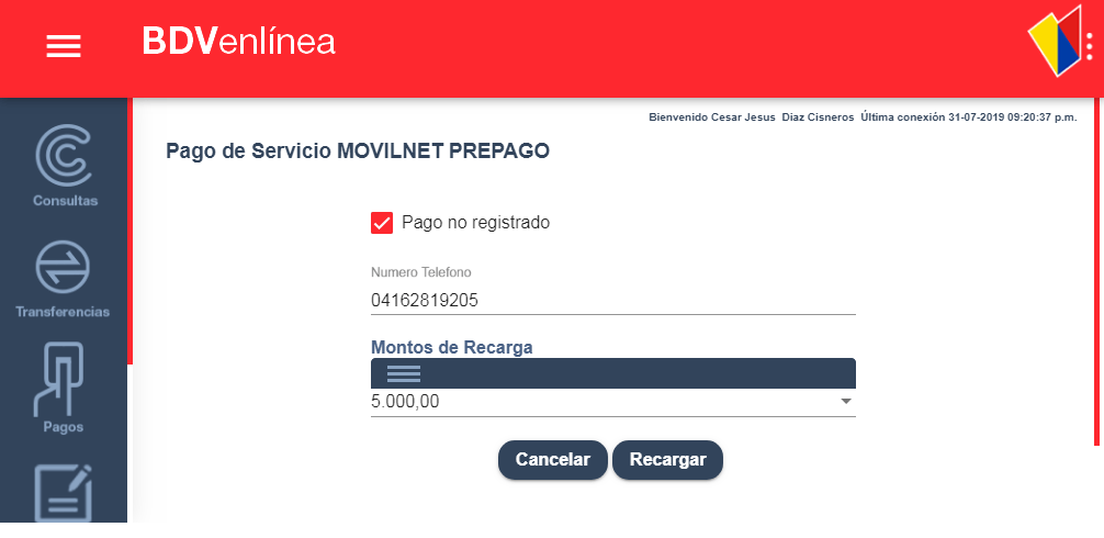 Recarga Movilnet Banco de Venezuela