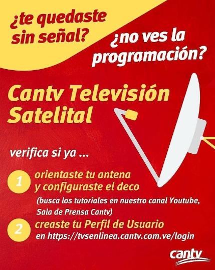 CANTV SATELITAL no se ve la programacion